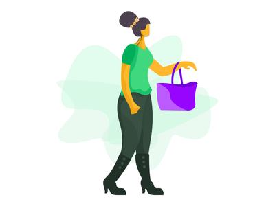 Girl Illustration design design illustration photoshop color shopping bag girl illustration girl illutration