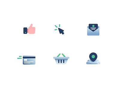 Icons sketch pin basket thumbsup location eshop gradient illustration icons