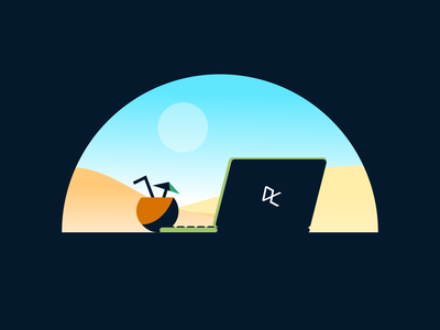 DataCamp's Summer Certification Challenge icon gradient learn datascience datacamp beach laptop illustration