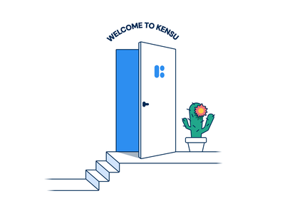 Careers page illustration welcome stairs open door cactus figma vector ux open position careers illustration