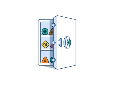 Here is a data vault. light vector open locked data privacy security vault visual branding design icon ux illustration