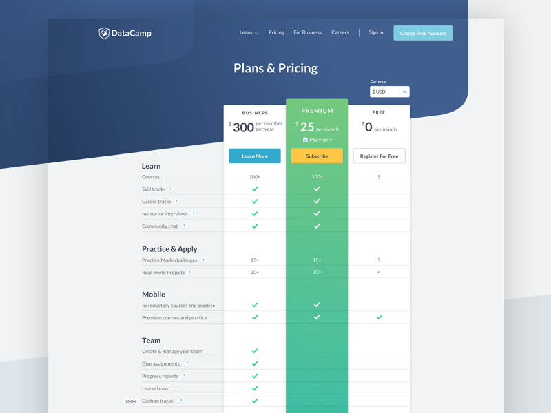 Pricing 2018 by Adrien Duchateau for DataCamp on Dribbble