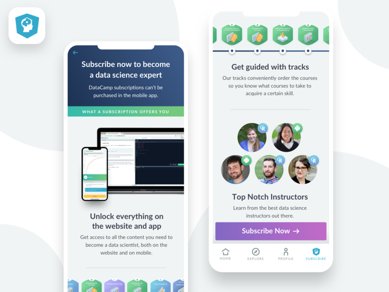 Subscribe to DataCamp by Adrien Duchateau for DataCamp on Dribbble