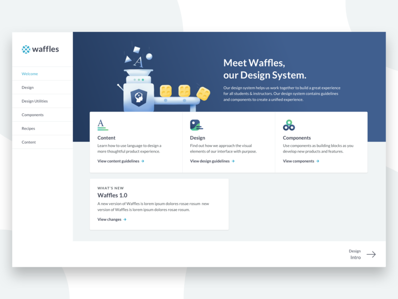 Meet Waffles components design content ux homepage ui datascience illustration procreate design system