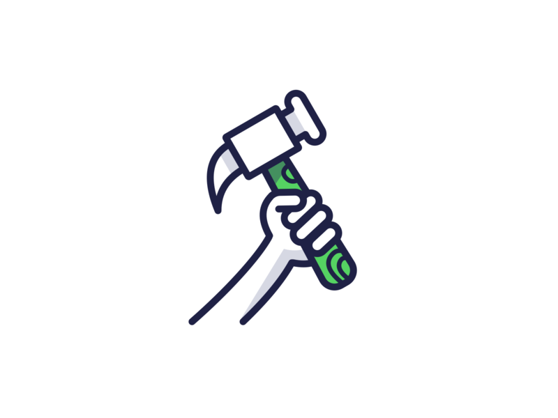 🔨 line construction work hammer icon