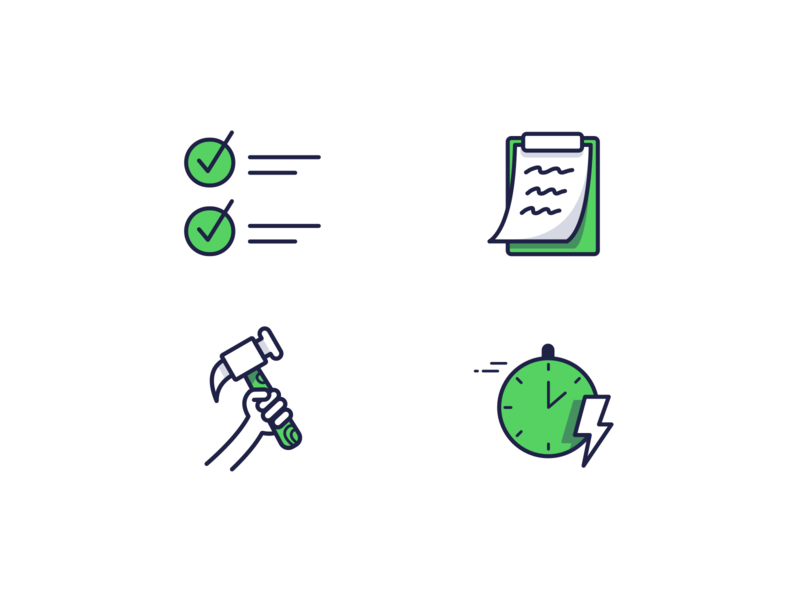 Icons time notes checkmark hammer illustration construction line icons