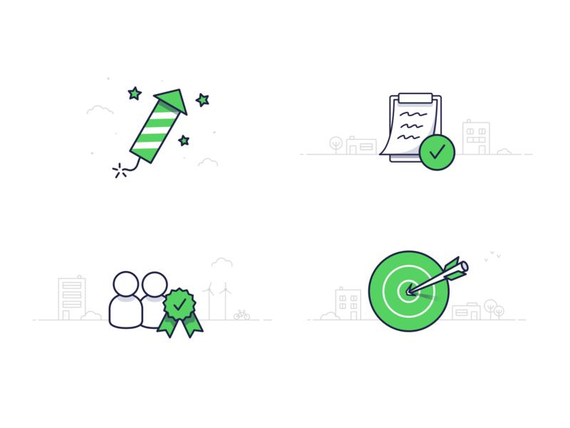 🧨🗒️👥🎯 stroke grey green ui user note fireworks target illustration line icon