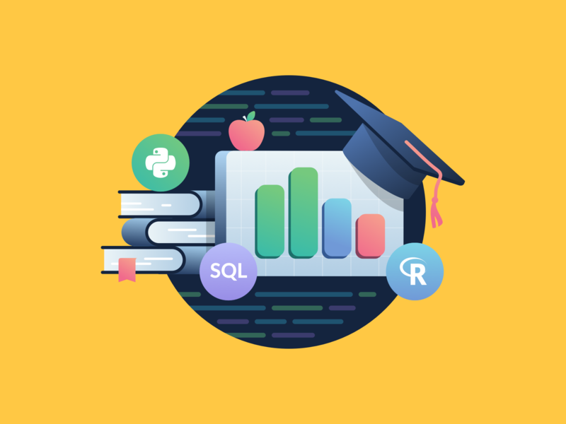 DataCamp Mobile App Featured on the AppStore! apple graduation education r python datascience mobileapp illustration appstore feature datacamp