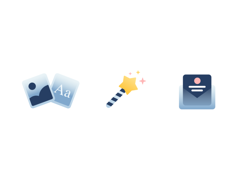 Icons email magic soft gradient illustration sketch icons icon
