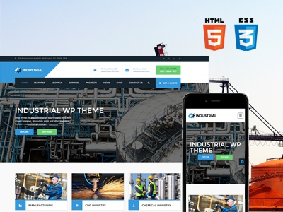 Industrial HTML/CSS template anspthemes wordpress industrial css template html free