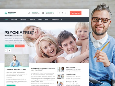 Psychiatrist - HTML/CSS template wordpress psd free template css html