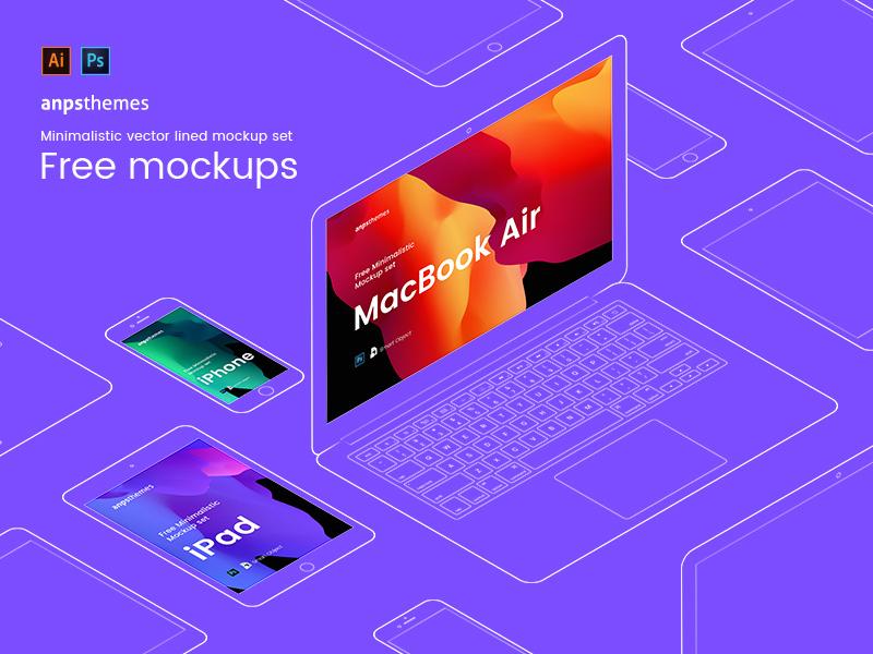 iPhone, iPad and Macbook Mockups adobe illustrator photoshop vector anpsthemes ipad macbook mockups iphone