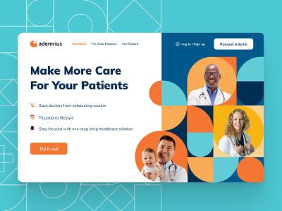 Ademrius — Medical Platform typography illustration app branding medical design medical care desktop service webapp web medical app saas healthcare health medical