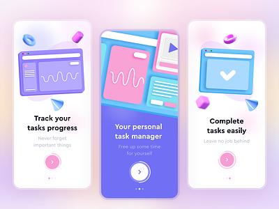 Task Management App Onboarding blur 3d modern mobile app design task list task manager task app vector ui design mobile ui mobile