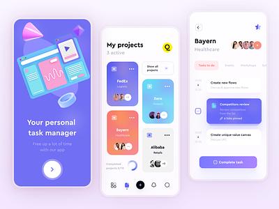 Task Management App concept design task manager task mobile app app design minimal ux ui