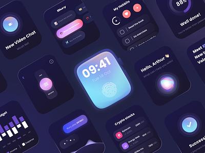 AI Voice Assistant Watch Version colourful ai voice assistant dark ui watch design ui