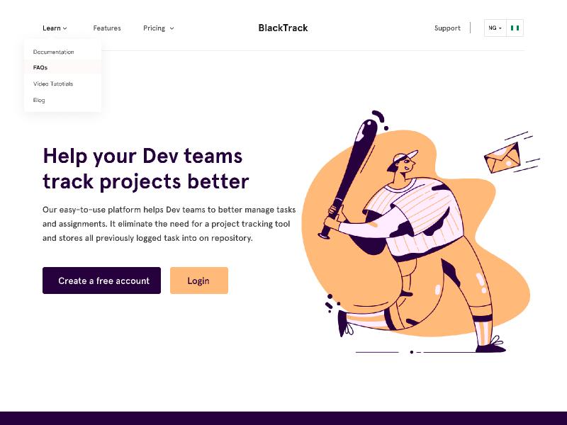 BlackTrack web design illustraion product design website user interface design ui design product page hero section hero banner landingpage