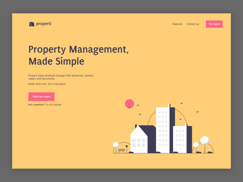 Landing Page for Properti Management