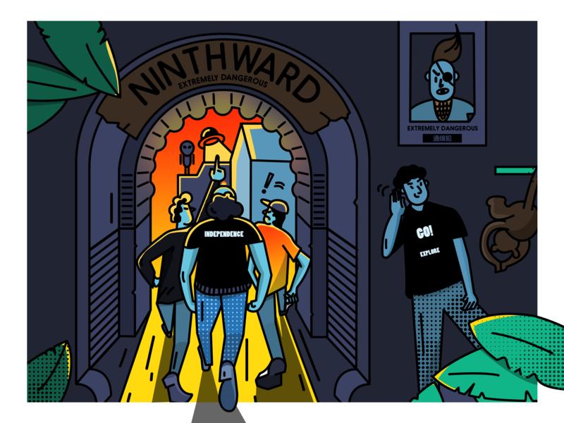 Ninth ward doodleart explore alien cat forest line line ar illustration 插图 ui app design