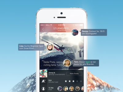 Extreme Sports App - User Interface COBE