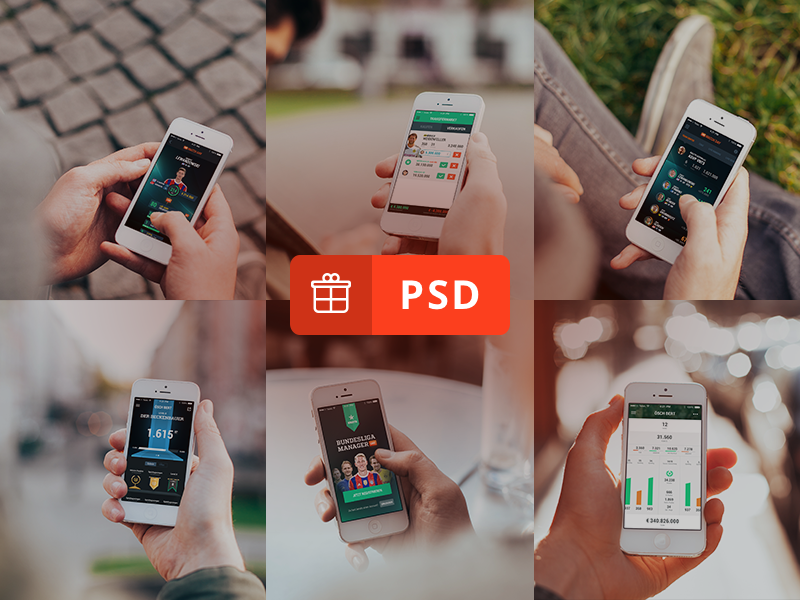 6 Photorealistic iPhone 5 mockups design freebie free psd münchen cobemunich cobe interface ui iphone mockups psddd
