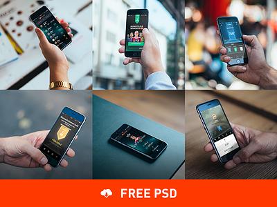 6 Photorealistic iPhone 6 mockups psddd mockups iphone ui interface cobe cobemunich münchen psd free freebie template