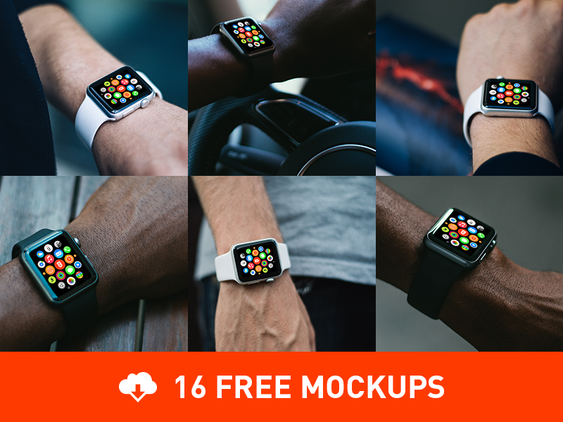 16 Free Photorealistic Apple Watch mockups download template freebie free psd münchen cobe applewatch watch apple mockups psddd