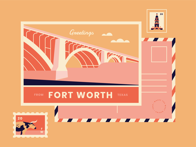 Fort Worth Postcard mail stationary city cow bridge postcard illustration design vector pink flat illustration fort worth