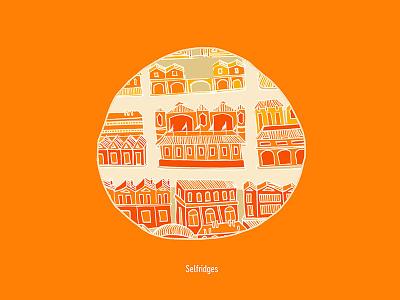 Selfridges handdrawn city selfridges map adobe illustration london