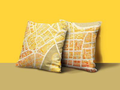 London City Map Pillows store design souvenir pillows city london eye map adobe illustration london