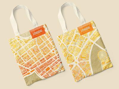 London Tote bags store design souvenir tote bags city london eye map adobe illustration london