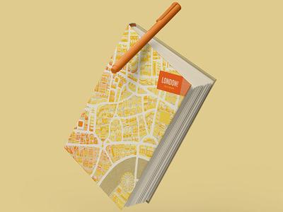 London Diary store design souvenir diary city london eye map adobe illustration london