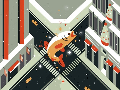 Miracle on the 34th Street top view city fish new york christmas movie illustration motion graphics manhattan grid