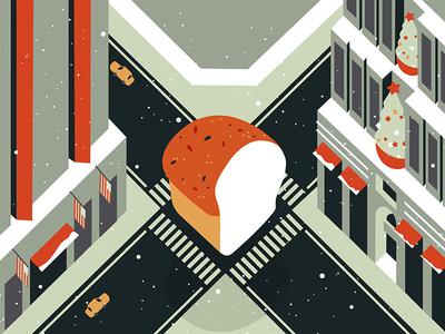Bun in Manhattan magic top view bun city fish new york christmas movie illustration motion graphics manhattan grid