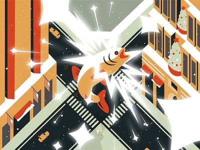 Miracle on the 34th Street magic top view bun city new york christmas movie fish illustration motion graphics manhattan grid
