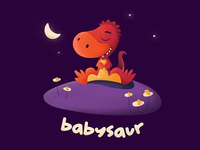 Babysaur moon night cute baby apparel illustration babysaur dinosaur