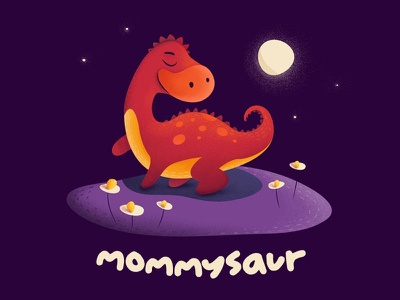 Mommysaur moon night cute mummy mommy apparel illustration babysaur dinosaur