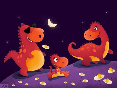 Dino Family moon night cute mummy dady mommy apparel illustration babysaur dinosaur