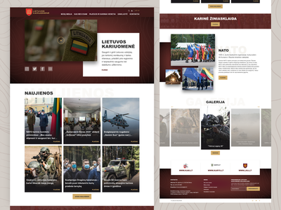 Web page for Lithuania military website red white landingpage home page homepage design creative adobe xd ui landing page
