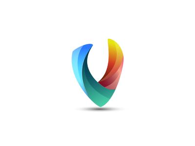 V Logo branding colorful identity illustrator logo