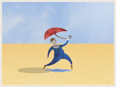 Umbrella Man photoshop texture illustrator vector illustration art