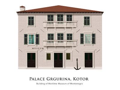 Palace Grgurina - Kotor buliding illustration