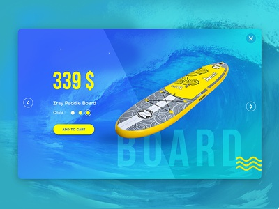 Paddle board product card surf water sports ui ux product card