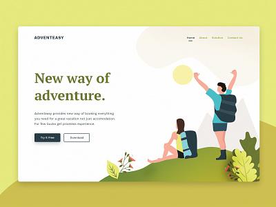 Adventure vector typography design appdesign product card uxdesign app illustration ui  ux