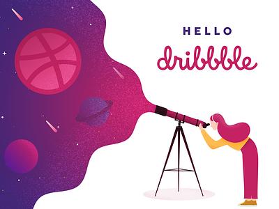 Hello Dribbble inspiration vector design space illustration hello