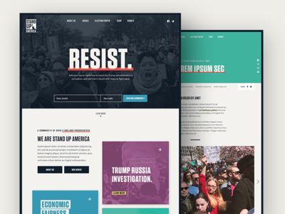 Stand Up America Website website web ui landing page homepage design community resist