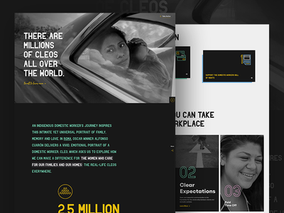 Roma and the National Domestic Workers Alliance typography dark web design nonprofit roma landing page home page