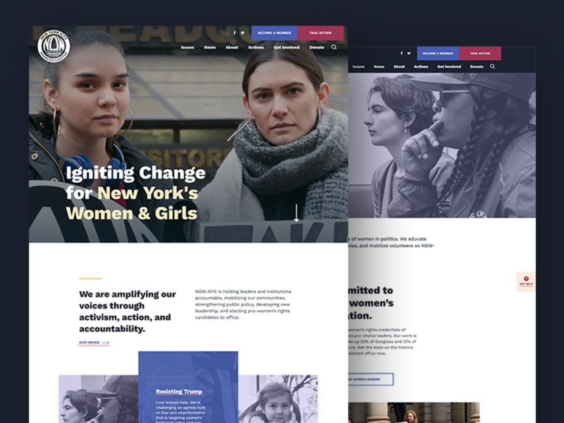National Organization for Women – New York City (NOW-NYC) uxdesigner user experience web design interactive design website feminist ui home page nonprofit activist landing page homepage