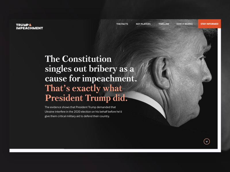 Trump & Impeachment Landing Page resist political nonprofit logo landing page interactive design impeachment homepage figma dark ui branding