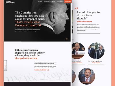 Trump & Impeachment Landing Page resist political nonprofit logo landing page interactive design impeachment homepage figma dark ui branding